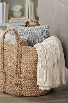 Exclusively from Simons Maison We love the chic rustic natural look of jute woven in a practical rounded shape with handles Large size perfect for storing throws, cushions or towels in the bathroom 40 x 40 cm Humble Design, Living Room Decor, Bedroom Decor, Living Rooms, Bedroom Boys, Bedroom Rustic, Trendy Bedroom, Bedroom Ideas, Rustic Couch