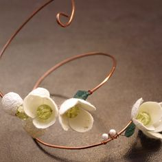 bracelet - silk cocoons on wire