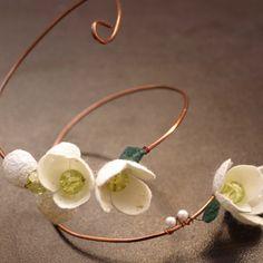 bracelet - silk cocoons on wire
