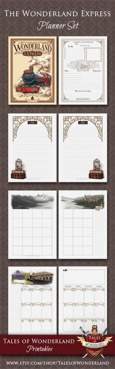 Wonderland Express Printable Planner Set by Tales of Wonderland | Harry Potter inspired planner | Daily, Weekly, Monthly Planners | Divider & Notes pages | Filofax Inserts | Kikki K planner pages | A5, Half-Letter organizer