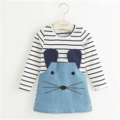 New 2016 Striped Patchwork Character Girl Dresses Long Sleeve Cute Mouse…
