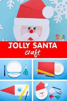 Make a jolly Santa face out of a paper plate.