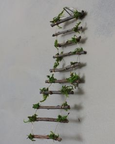Fairy Ladder Handcrafted by Olive Fairy Accessories Fairy House Fairy Door Fairy Window Miniatures Miniature Fairy Figurines, Miniature Fairy Gardens, Fairy Garden Furniture, Fairy Garden Houses, Twig Furniture, Fairy Gardening, Organic Gardening, Opening Fairy Doors, Fairy Village