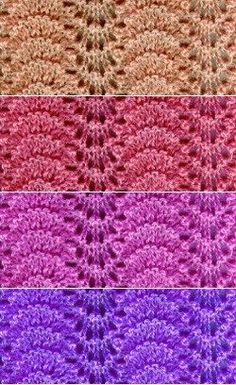 Free knitting pattern to learn the easy feather and fan stitch, with a closeup photo of the finished work.