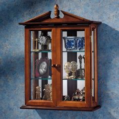Amesbury Manor Hardwood Wall Curio Cabinet Mahogany Finish
