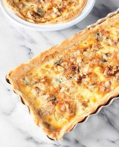 Quiche met peer, walnoten en blauwe kaas