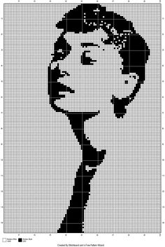 point de croix audrey hepburn - cross stitch audrey hepburn-monochrome-star-cinéma