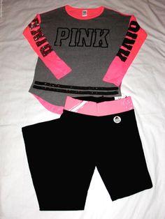 New XS Victorias Secret PINK Long Sleeve Shirt Yoga Pants Set Gray Black Bling  #VictoriasSecretPink