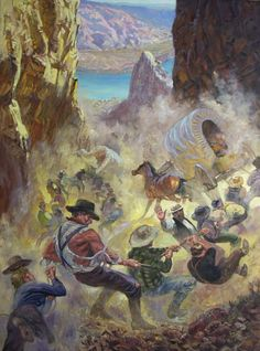 Hole In The Rock Pioneers - Plunging Down Mormon History, Mormon Pioneers, Lds Pictures, Church Pictures, Religious Paintings, Religious Art, Church History, Family History, Pioneer Trek