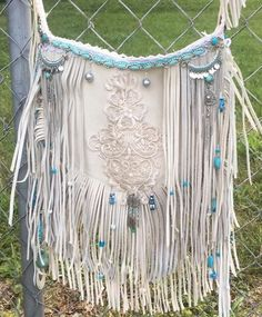 Handmade Ivory Suede Leather Fringe cross body bag Hippie Boho Hobo Lace ~B.Joy~ in Clothing, Shoes & Accessories, Women's Handbags & Bags, Handbags & Purses   eBay