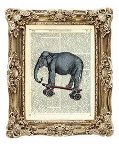 Elephant on a Skateboard  Vintage Dictionary Art by TinkerPrince, $10.00