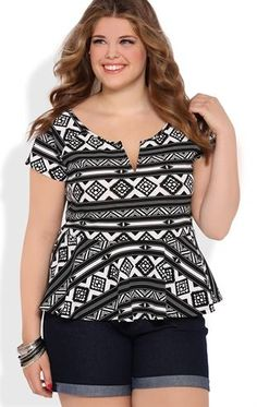 Deb Shops Short Sleeve Aztec Print Peplum Top $21.00
