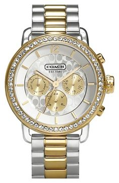 COACH 'Legacy Sport' Crystal Bezel Bracelet Watch, 42mm available at #Nordstrom