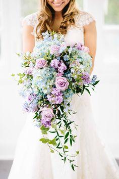 cascading wedding bouquet, blue wedding bouquet, cascading bridal bouquets, lavender bouquets, bridal cascading bouquets