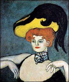 Femmes à chapeau (137) Pablo Picasso ( 1881-1973) l'hétaïre (1901) femme au chapeau 1901 Buste de femme à chapeau buste de femme au chapeau rayé
