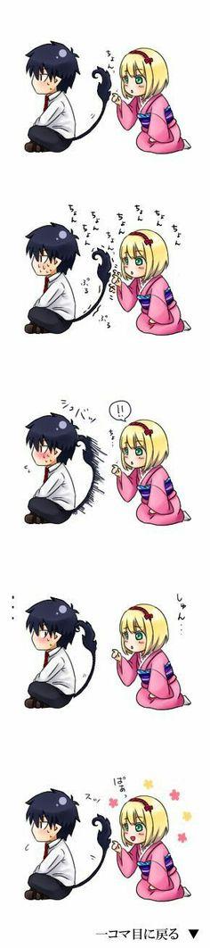 Rin and Shiemi: Ao no Exorcist/Blue Exorcist Anime Chibi, Kawaii Anime, Anime Naruto, Manga Anime, Rin Okumura, Rin And Shiemi, Mephisto, Ao No Exorcist, Blue Exorcist Anime