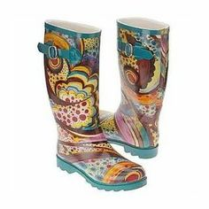 Rain Boots!! wonder if I could buy a plain pair and paint them?