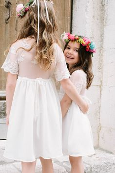 Sheer Lace Flower Girl Dresses | Colourful Wedding Inspiration Destination Wedding | France Wedding | Styling by Wedding Planners Rock My Love | Photography By Oh La La Studios | http://www.rockmywedding.co.uk/love-over-the-rainbow/