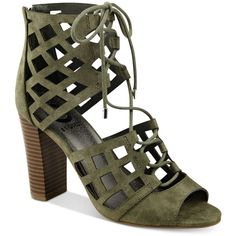 G by Guess Iniko Caged Lace-Up Sandals ($69) ❤ liked on Polyvore featuring shoes, sandals, heels, zapatos, medium green, green shoes, laced sandals, lace up sandals, g by guess shoes and lace up heel sandals