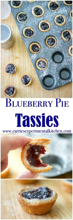 Blueberry Pie Tassies are a simple, small portioned dessert, similar to a cream cheese cookie; then filled with your favorite pie filling. They taste like bite sized version of blueberry pie. Brownie Desserts, Oreo Dessert, Mini Desserts, Coconut Dessert, Small Desserts, Easy Desserts, Delicious Desserts, Yummy Food, Jewish Desserts