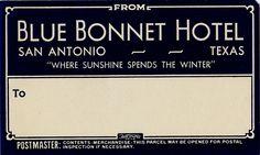Blue Bonnet Hotel luggage sticker