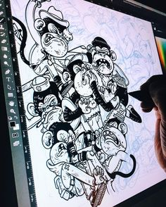 Working on a slightly complex monkey fight pattern - Cintiq  Ps  @wacomanz and @justanotheragency are giving away a 13HD Cintiq on a competition! Check out their page for more info! #wacomnextlevel by alexmdc