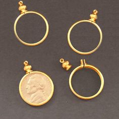 Coin Holder Bezel Nickel USA 5 cent Gold tone for charm, necklace, pendant Penny Jewelry, Coin Jewelry, Jewellery, Gold Jewelry Simple, Silver Jewelry, Beaded Jewelry, Gold Coin Necklace, Coin Art, Coin Ring