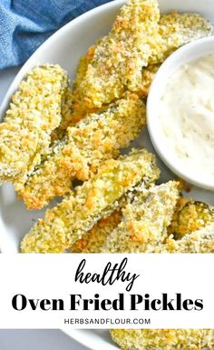 Oven Fried Pickles are delicious, crunchy breaded pickles that are baked in the oven instead of fried! This easy to make appetizer tastes just like your pub favourite snack but is way healthier! The perfect healthy snack without the guilt! #healthy #healthysnack #moviesnack #bakednotfried #friedpickles #breadedpickles #healthyeating #cleaneating #diet #lowfat Oven Fried Pickles, Baked Pickles, Healthy Baking, Healthy Snacks, Healthy Sweets, Savory Snacks, Easy To Make Appetizers, Appetizer Recipes, Party Appetizers