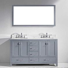 "Virtu Caroline Avenue 60"" Double Bathroom Vanity Set with Carrara White Top and Mirror Base Finish: Gray, Faucet Finish: Brushed Nickel, Sink Shape: S"