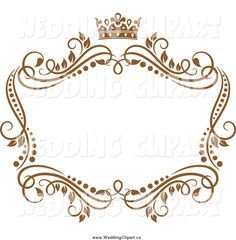 Vector Marriage Clipart of a Golden Vine Wedding Frame with a ...