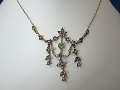 .33 Carat Peridot & Pearl 14K Art Nouveau Necklace
