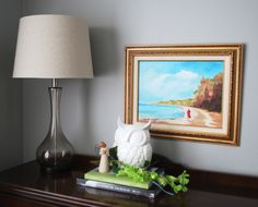 Traditional art hung low over console with whimsical owl Whimsical Owl, Small Tables, Hanging Art, Home Look, Traditional Art, Console, Table Lamp, Interior Design, Create