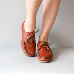 1970s shoes / deck shoes / Auburn topsiders by DearGolden on Etsy