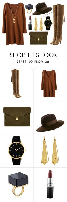 """Outfit of the Week: Chocolate Chai"" by fabglance ❤ liked on Polyvore featuring Chloé, J.Lindeberg, Maison Michel, Larsson & Jennings, Panacea, MAC Cosmetics and Jennifer Zeuner"