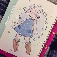 Character Design Idea~ By Winklebeebee Art Drawings Sketches, Kawaii Drawings, Cartoon Drawings, Cute Drawings, Cute Art Styles, Cartoon Art Styles, Posca Art, Arte Sketchbook, Drawing Challenge