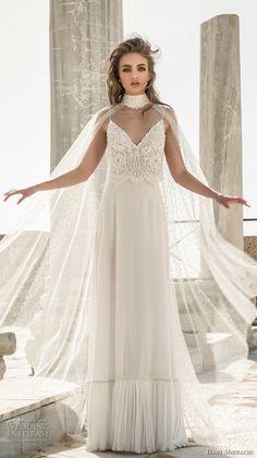 dany mizrachi 2018 bridal sleeveless spaghetti strap sweetheart neckline heavily embellished bodice lace top grecian column wedding dress (12) mv -- Dany Mizrachi 2018 Wedding Dresses