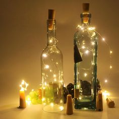 Horeset 6pcs Wine Bottle Wire Lights Starry Light Battery Strip Light Décor Rope Lamp-Battery Powered by 1AAA battery ( Not Included ) For Christmas,Wedding,Party,Halloween,Decoration (Warm White)