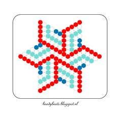 Beady Beads - Star 4e. Perler / Hama / Fusion / Melty / Pyssla Beads. Free Pattern Card! Visit my blog for more free patterns.