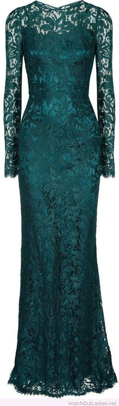 Long green lace gown for bridesmaids
