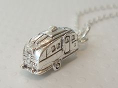 Tiny Silver Airstream Trailer Charm Necklace  by lucindascharms, $11.00