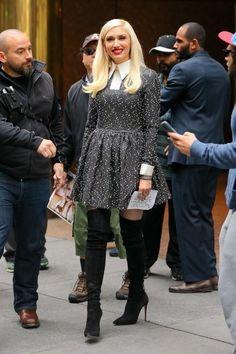Gwen Stefani wearing Casadei Black Suede Blade Thigh High Boots
