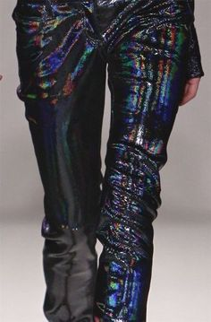 iridescent   mother-of-pearl   gleaming   shimmering   metallic rainbow   shine   anodized   holographic   oil slick   peacock   iridescence   pants