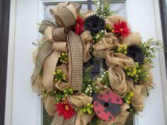 Primitive ~ XL~ Ladybug Birdhouse~ Door~Wall~  Wreath~Pip Berries~Mesh~Flowers