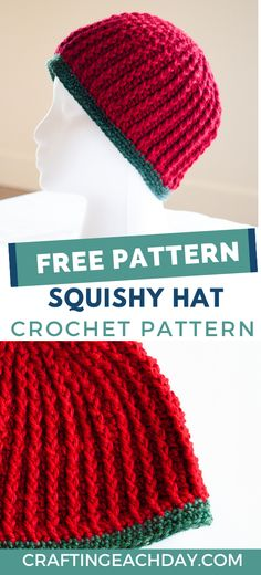 Crochet a soft and warm beanie hat with this free crochet hat pattern for women.  Use rich reds and greens for a Christmas hat or choose any colors that you desire.   This free crochet beanie pattern comes in one size that fits most adults in a size medium/large.  Instructions include written instructions and a chart for the first six rounds of the hat.  This crochet hat pattern will also give you an opportunity to use the magic loop and invisible join methods.
