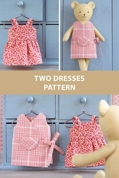 Sewing patterns for doll's dresses, which are designed to fit my Bear and Bunny cloth dolls. Bear and Bunny pattern is available here: https://www.etsy.com/listing/573797704/ #etsy #animaldolls #dollclothes #toys #etsyfinds #sew #sewing #sewingproject #pdfpattern #pattern