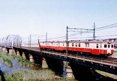 常磐線1972荒川橋梁 キニ55x2連