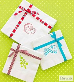 Use various holiday-theme rubber stamps to make these cute napkin sets.