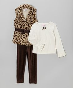 Take a look at this Little Lass Brown Cheetah Faux Fur Bow Vest Set - Infant, Toddler & Girls on zulily today!