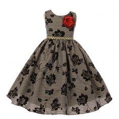 Little Girls Gold Black Rose Checker Glitter Waist Flower Girl Dress 2-6