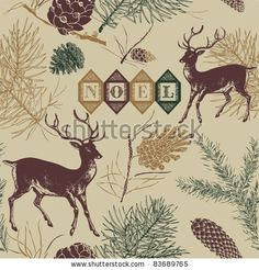 stock vector : Christmas deer, Vintage vector seamless illustration